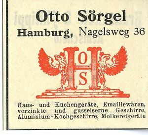 Otto Sorgel Hamburg Haus Und Kuchengerate Trademark 1912 Ebay