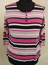 Modisches GERRY WEBER Ringel Stretch Shirt, Baumwolle rosé-schwarz-weiß Gr. 44