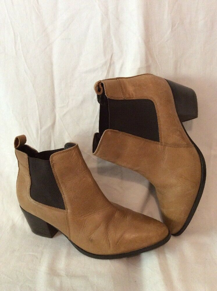 M&S Collection Brown Ankle Leather Boots Size 7