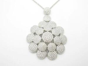 PLATINUM STERLING SILVER DIAMOND SET PAVE WHITE SAPPHIRE HAMSA HAND GOD NECKLACE