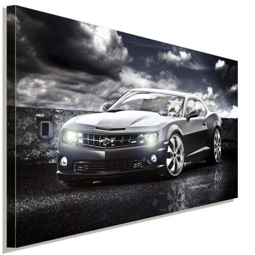 Chevrolet Camaro Schwarz Leinwandbild AK Art Studio Wanddeko Wandbild