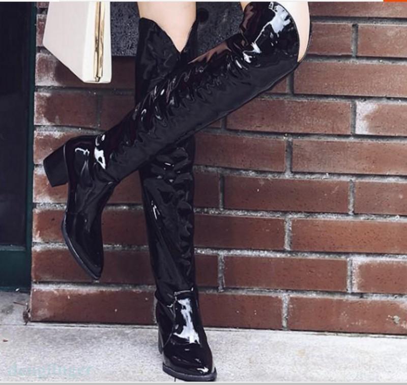 Montar a caballo en punta sexy para mujer mujer mujer la rodilla botas altas tacón Zapatos Cuero tire de cubano  más orden