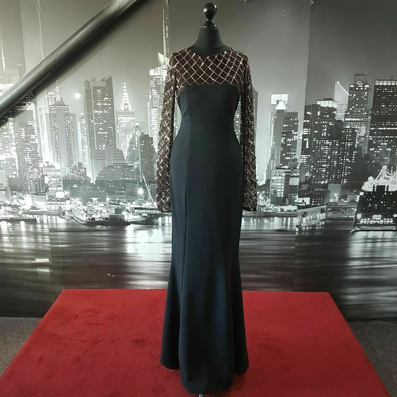 Sequinned Dress (Black-Size 12) Prom, Cruise, Ball, Pageant, Races, Bridesmaid