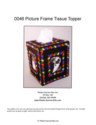 Colorful Picture Frame Tissue Topper-Plastic Canvas Pattern or Kit