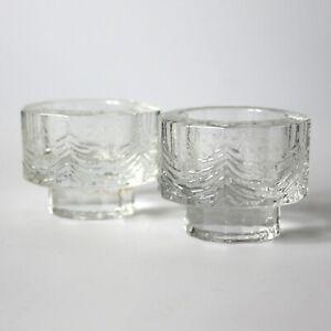 2 Small Iittala Kuusi Spruce Votive Winter Tealights Jorma Vennola Finland Glass Ebay