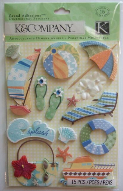 HAPPY TRAILS WATER FUN Grand Adhesions Dimensional Stickers K & CO Company BEACH