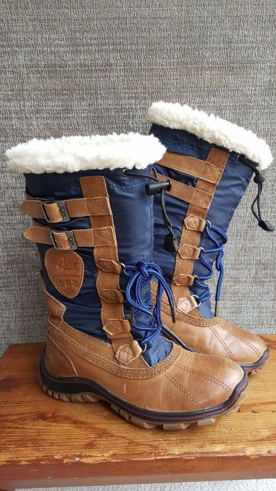 Pre-Owned Women's PAJAR ADRIANA Winter Boot, Sz 6 MED Brown & Navy, Retail  220