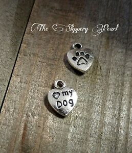 10 Paw Print Charms Word Pendants Heart Tags I LOVE MY DOG Pet Lover