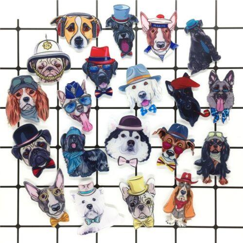 Pompier Policier Marin chiens chapeau nœud papillon acrylique Broche Icône Broches Pins
