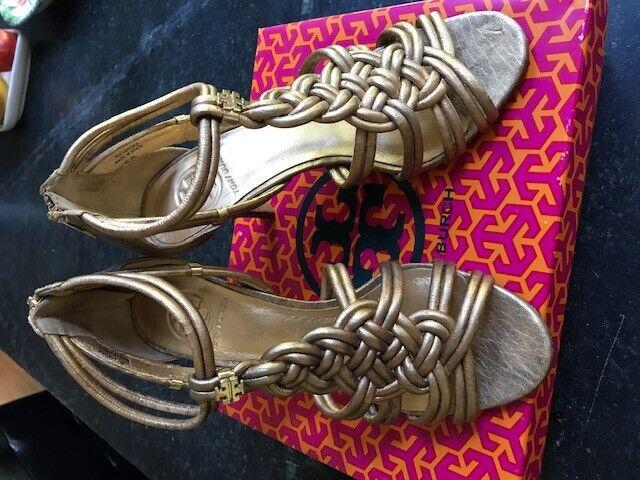 Tory Burch Gold Strappy Heels, Sz 8