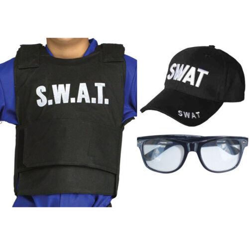 Chidrens Kids SWAT Vest Hat Jacket Police FBI Military Fancy Dress LOT