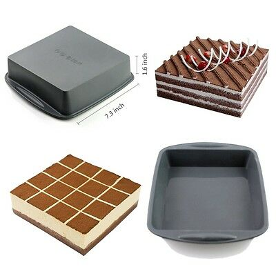 "Silicone Square Baking Mold Cake Bread Mould Chocolate Tray Bakeware 7.3""×1.6"""