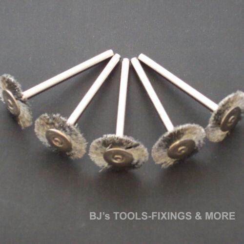 5 STEEL /& 5 BRASS WHEEL BRUSHES DREMEL ACCESSORIES ROTARY HOBBY MULTI TOOL