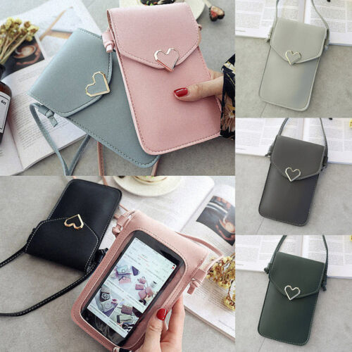 Womens Crossbody Leather Clear Back Mobile Phone Bag Purse Small Shoulder Bag UK