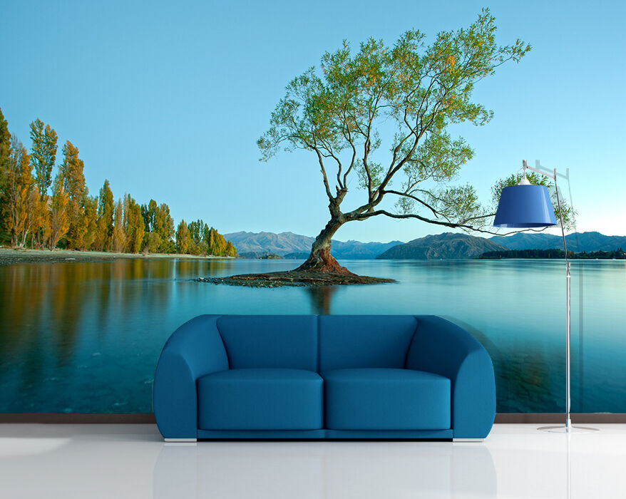 3D Big tree plant green river Wall Paper Wall Print Decal Wall AJ WALLPAPER CA