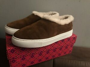 6e9fea14a490 Image is loading AUTH-NIB-TORY-BURCH-MILLER-SHEARLING-SNEAKERS-SUEDE-