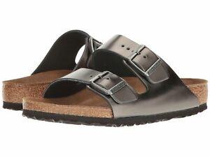 Details about Birkenstock Arizona BS Women Metallic Anthracite Slip On Sandals