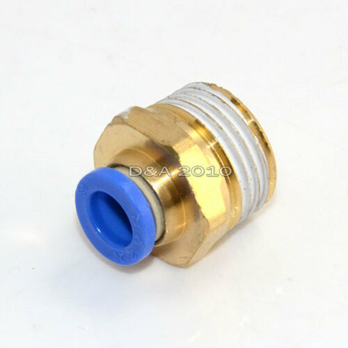 """1//2/"""" NPT Male to 8mm Straight Push In Fitting Nylon Tube Brass Connecter Adaptor"""