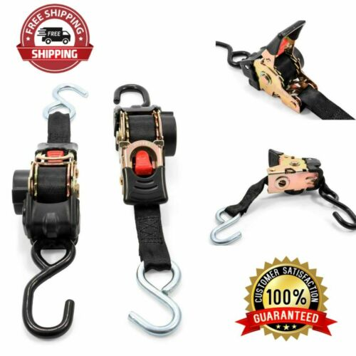 Retractable Transom Tie Down Straps 1 Width 5.5/' Dual Hooks Safely Secure Boat