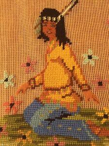 VTG-Needlepoint-Canvas-BARBARA-MCALISTER-Prework-Wool-Native-Amer-Girl-MADEIRA