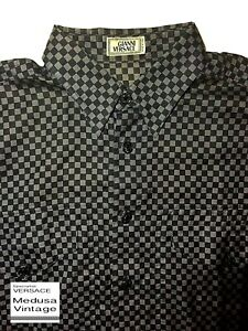 GIANNI-VERSACE-VINTAGE-039-95-GRID-CHECK-SHIRT-MEN-MEDUSA-BLACK-GREY-ITALY-WIDE