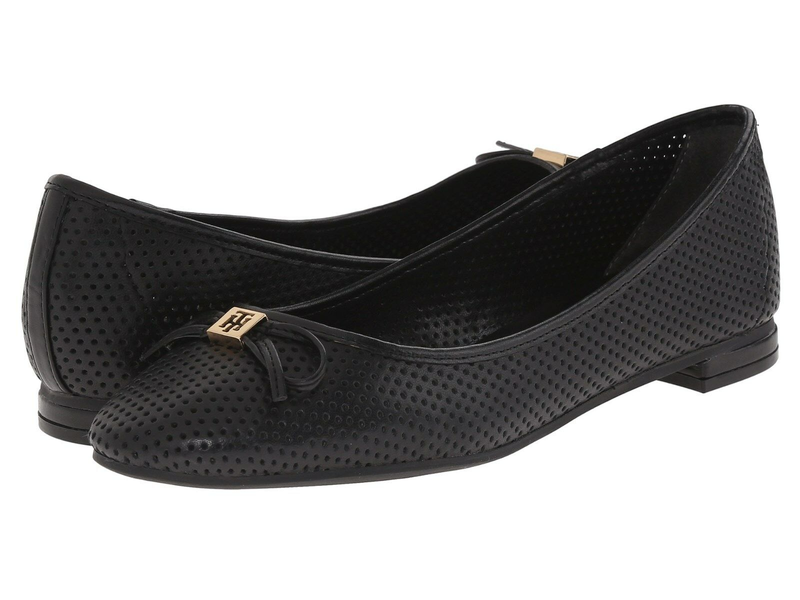 Tommy Hilfiger Mirella Black Perforated Ballet Flats Multisizes AS297