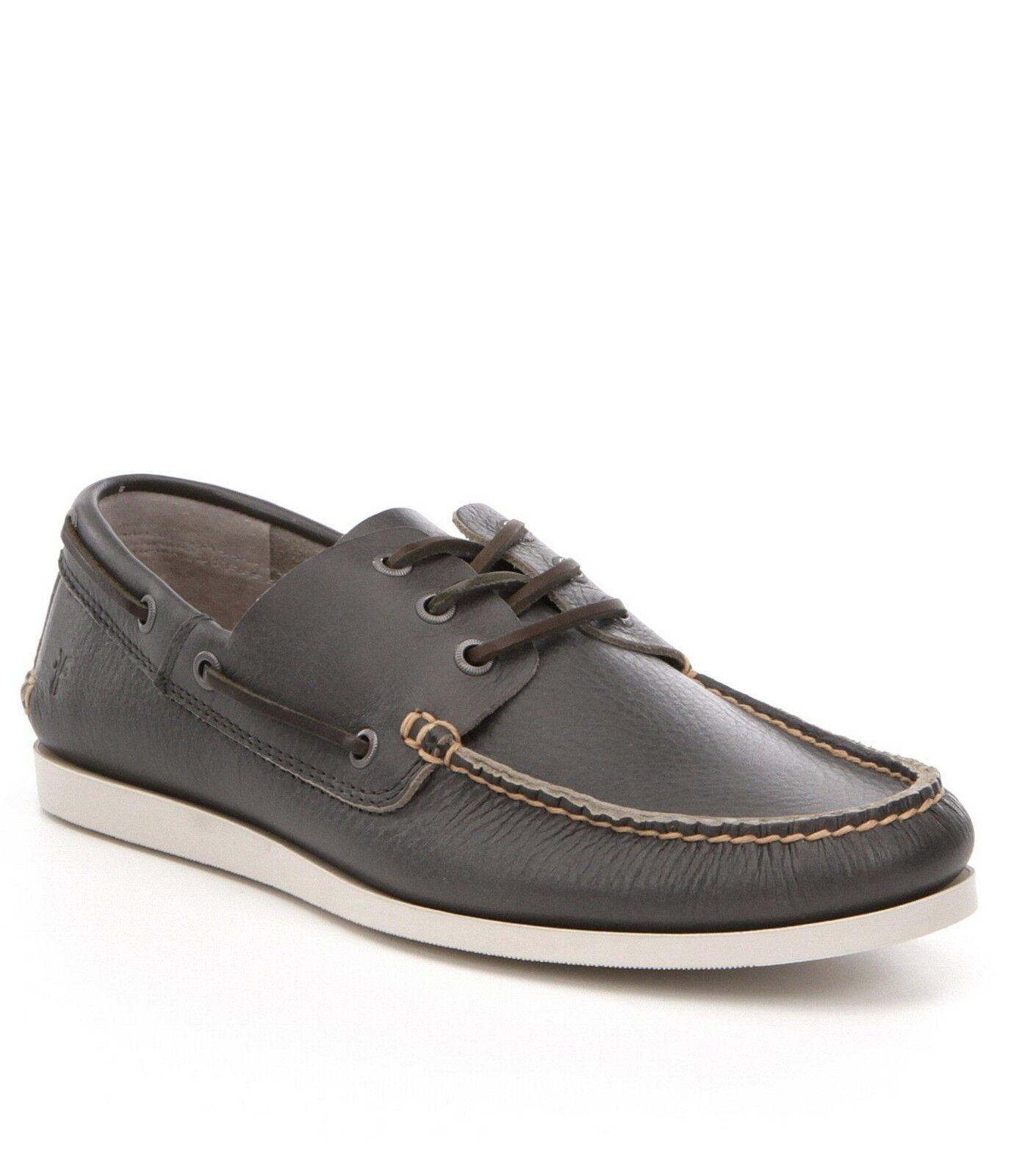Mens Frye Briggs Boat shoes Leather Loafer Slate Grey Slip On shoes 8 9.5 10 11