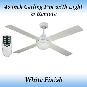 1255bbcf51c8 Fias Revolve 48 inch Ceiling fan in White Finish with Light and Remote