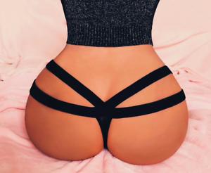 Sexy-Women-Lace-G-string-Briefs-Panties-Thongs-Lingerie-Underwear-Knickers-Black