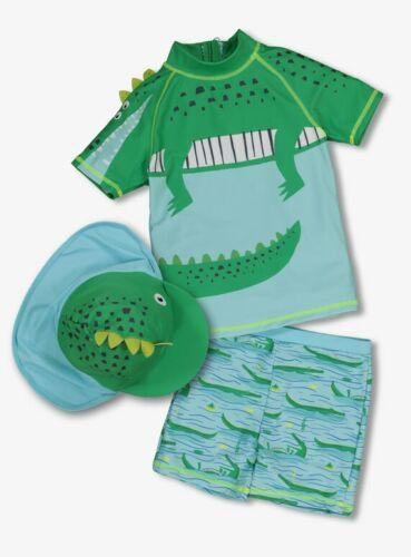 Sun Hat Sunsafe Swimsuit Set BNWT Baby Boys 3pc CROC UPF40 UV Sunsuit /& UPF50