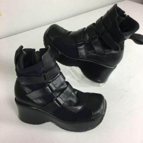 Steve Madden Vtg 1990s Platform Leather Black Boot