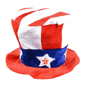 Blinking Patriotic Uncle Sam Light Up Top Hat Stove Pipe Stars Strips Accessory