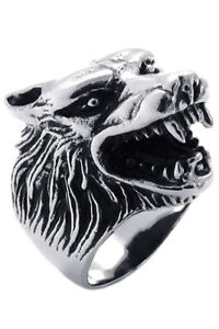 Jewelry-Men-039-s-Ring-Stainless-Steel-Gothic-Wolf-Head-Black-Silver-12-Size-C5L8