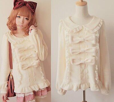 Trendy Sweet Lolita Punk Cute Kawaii BOWS Long Sleeve Shirt Blouse * 2 Colors *