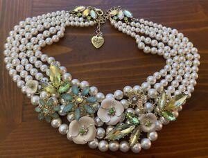 Betsey Johnson 5 Strand Pearl Necklace Rhinestones w/ Green Blue White Flowers