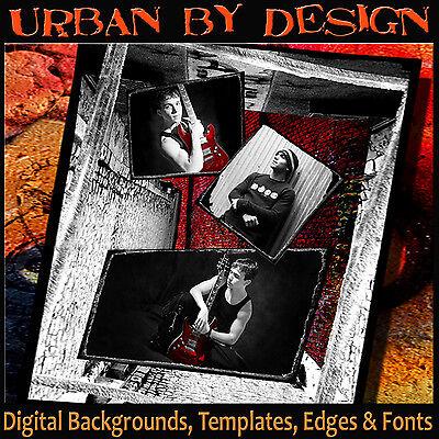 Digital Backdrops Urban Photo Backgrounds Photoshop Templates Border Overlays U