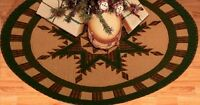 Feathered Star Quilted Christmas Tree Skirt Approx. 48 Diameter Tea Dyed