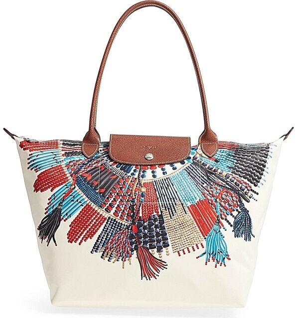 33a57d570089 NWT Authentic LONGCHAMP Large Le Pliage Collier Massai Tote Bag in Blue Red   265