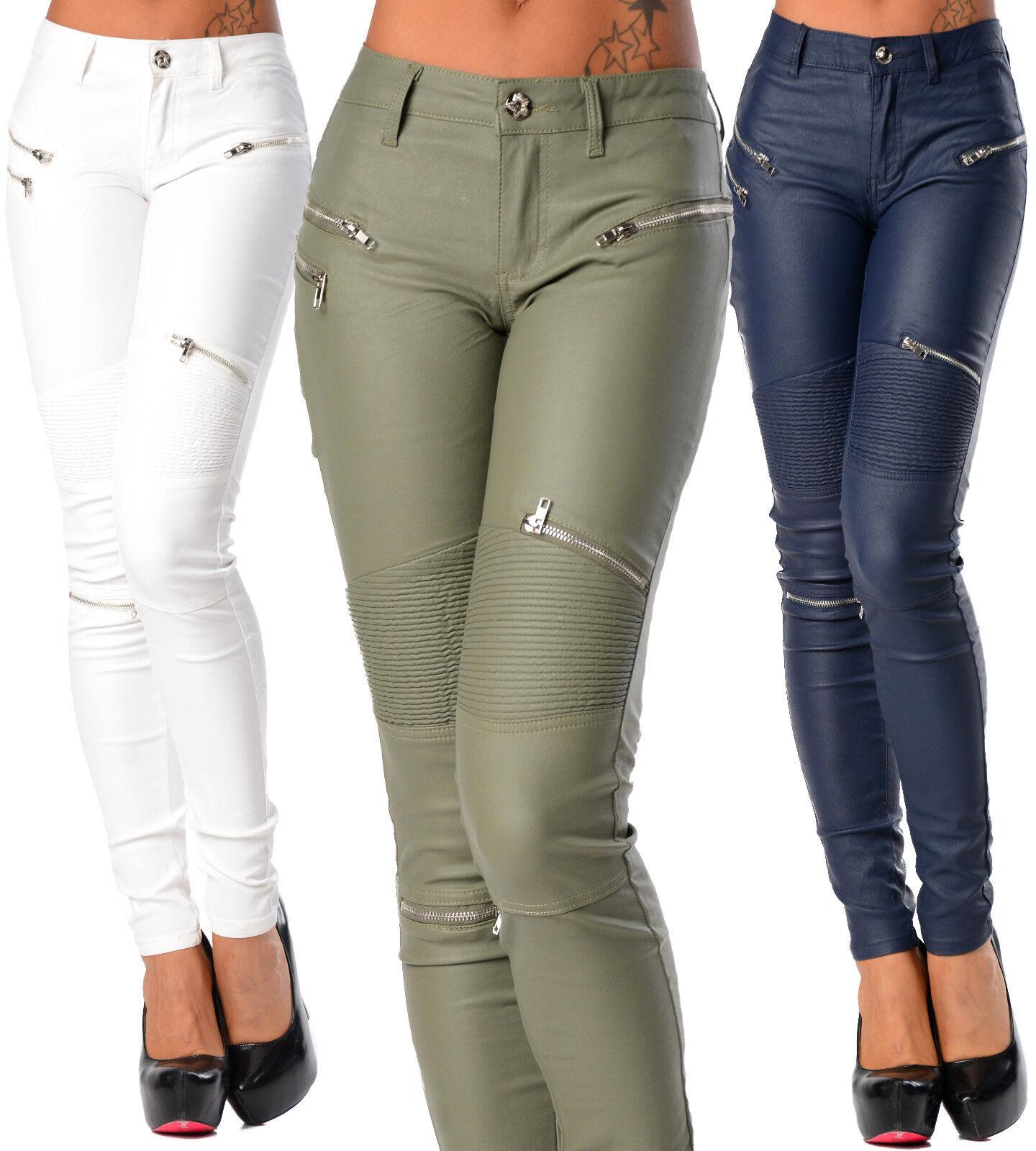 Sexy Damen Enge Jeans Hose Hüfthose Nass Biker-Look mit Reißverschluss K 275