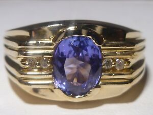 add60c38f4aaa0 Men's 14k Yellow Gold Ring Oval Tanzanite 4 Diamonds Hand Made | eBay