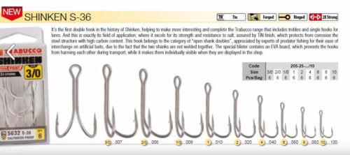 Trabucco Shrinken double  fishing hooks s 36 sizes 3//0 to size 10  6 per pack
