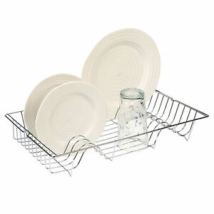 Metal-Chrome-Wire-Dish-Rack-Kitchen-Sink-Drainer-Washing-Up-Draining-Holder-Tray