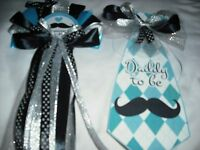 Baby Shower Mustache Mommy And Daddy Corsage And Tie Set