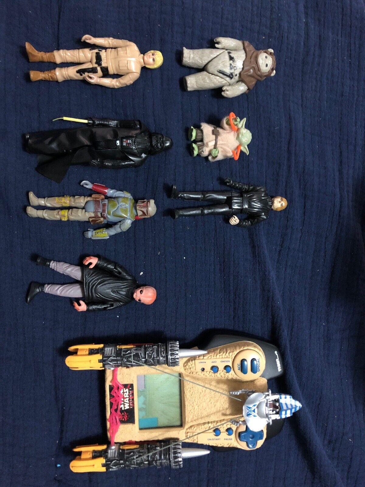 LFL Toy Lot Star Wars 1979 Boba Fett, 1980 Luke Skypromänader, 1977 Dark Vader, Yoda
