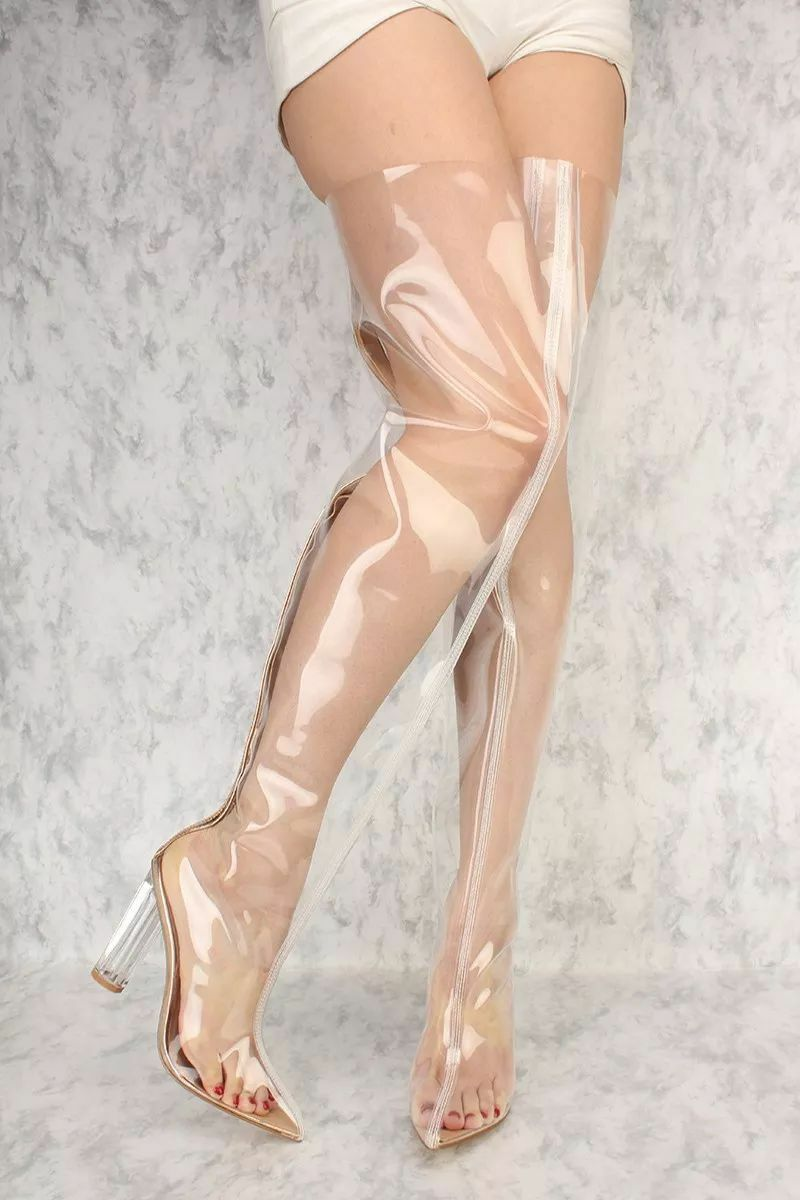 LOT CLEAR CLEAR CLEAR BLACK gold NUDE POINTY TOE CLEAR CHUNKY HEEL THIGH HIGH BOOTS PATENT ad9e44