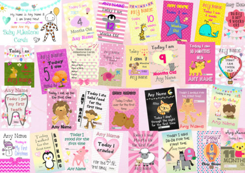 Set Of Girls Personalised Baby Milestone Photography Prop Cards Signs /& Posters