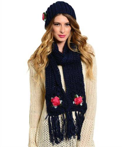 One Size Knitted Scarf And Beanie Set With Roses Assorted Colors Polyester