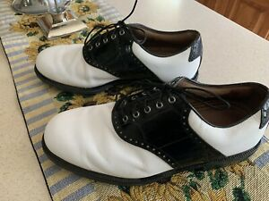 2014-Footjoy-FJ-ICON-Traditional-Mens-Golf-Shoes-52039-Wh-Blk-10X-WD