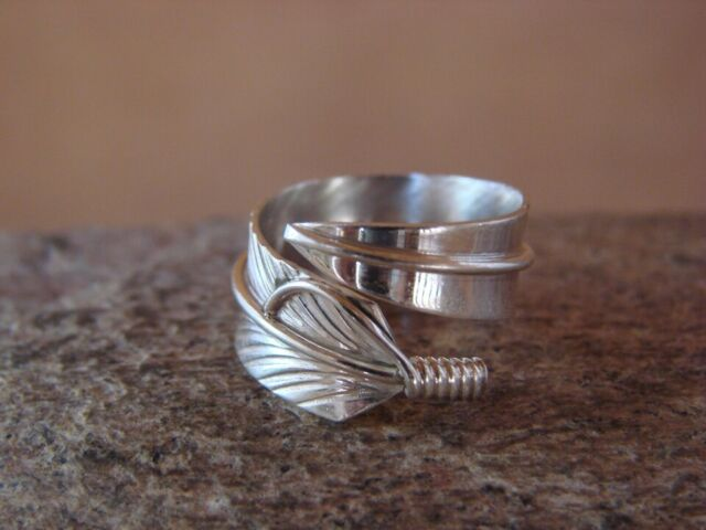 Navajo Made Classic Feather Wrap Ring Sterling Silver 12KGF Womens Ladies s6-9