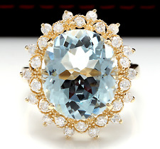 7.59Ct Natural Aquamarine and Diamond 14K Solid Yellow Gold Ring